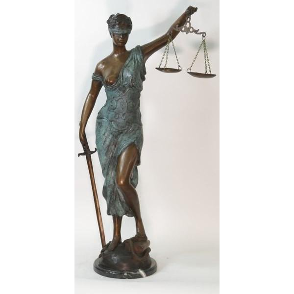 Blind Justice Bronze Statue on Marble Base Sculpture