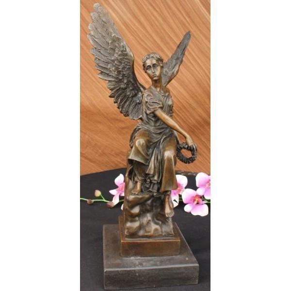Angel Religion Bronze Statue Marble Base