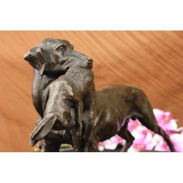 Real Cast Bronze Marble Statue Gun Dog Retriever Rabbit