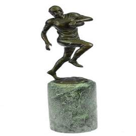 Trophy Football Player Bronze Sculpture on Marble Base