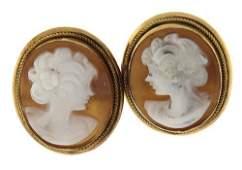Elegant Yellow Gold Cameo Stud Earrings