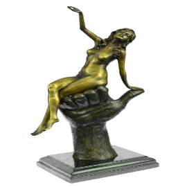 Two Tone Statue Sexy Lady Bronze Sculpture