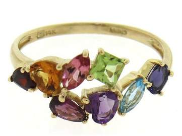 Gorgeous Multi Color Mixed Cut Gemstone Ring