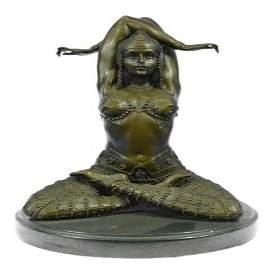 Lady Yoga Meditation Bronze Sculpture