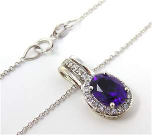 Fabulous White Gold Amethyst & Diamond Necklace