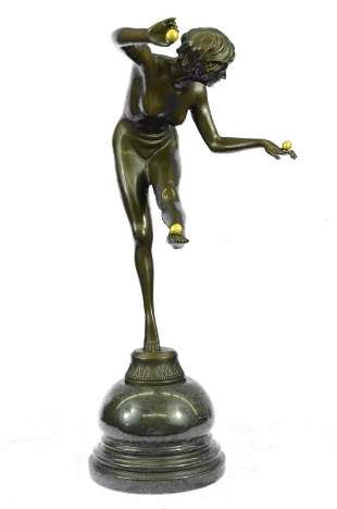 Bronze Statue Girl Juggling