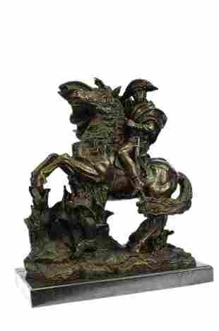 Massive 62 LBS Napoleon Riding Horse Bronze Sculpture