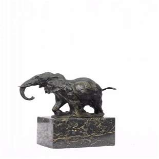 Elephant Bronze Sculpture on Marble Base Statue