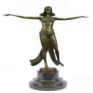 Belly Dancer Bronze Figurine on Marble Base Sculpture