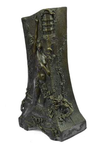 Bas Relief Woman Vase Bronze Sculpture