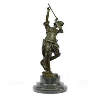 Girl Playing Flute Bronze Sculpture