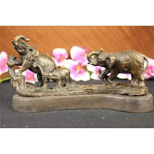 Three Elephants Walking Bronze Statue