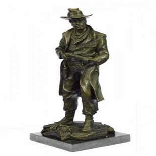 Classic Cowboy With Gun Western Bronze Sculpture