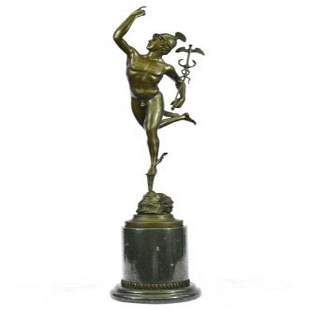 Roman Mercury Figure Ancient Bronze Sculpture