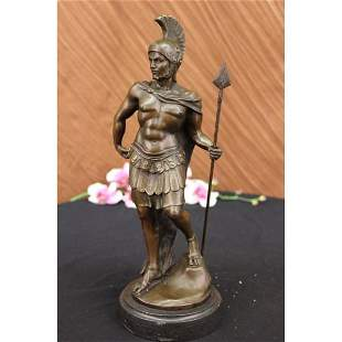 Roman Knight Warrior Bronze Statue on Marble Base