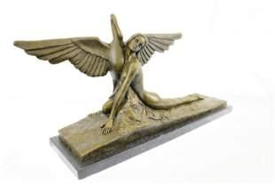 Girl with Swan Bronze Sculpture