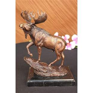 Male Moose Hunting Bronze Sculpture