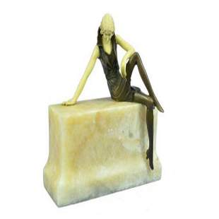 Nude Sexy Girl Sitting on Marble Base Bronze Statue