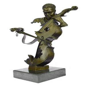 Musician Cello Player on Marble Base Bronze Figurine
