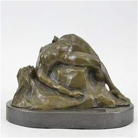 Abstract Nude Female on Rock Bronze Sculpture Marble