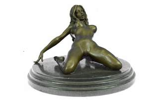 Nude Female Woman Bronze Sculpture on Marble Base