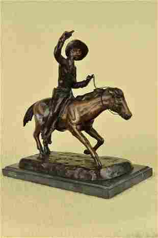 Old American West Man on Horse with Shooting Gun Bronze
