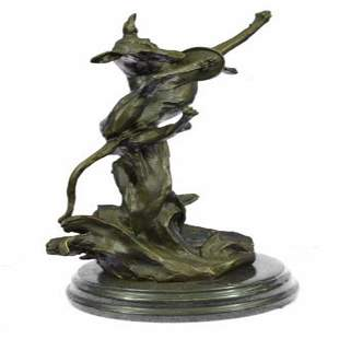 Young Frisky Pup With Frisbee Bronze Sculpture