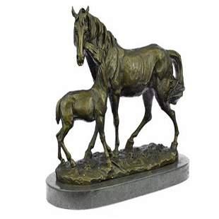Bronze Marble Western Statue Horse Farm Sculpture LARGE