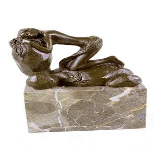 Female on Rock Bronze Sculpture on Marble Base