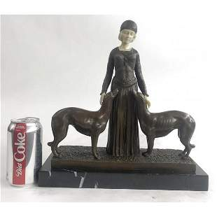 Friends Forever Lady with Dogs Bronze Statue