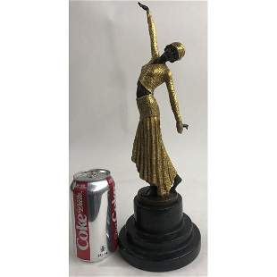 Egyptian Dancer Bronze Sculpture on Marble Base