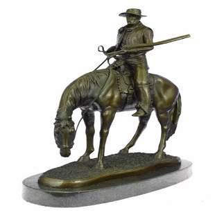 Horse Rodeo Rider Western Cowboy Bronze Sculpture