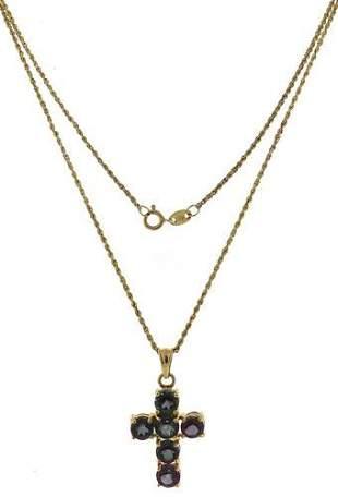 Fabulous Amethyst & Peridot Yellow Gold Cross Necklace