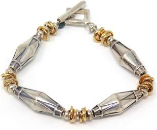 Sterling Silver Long Bead Toggle Bracelet
