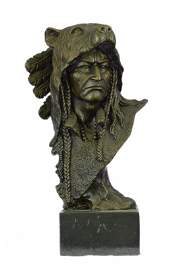 Native American Chief in Bear Headdress Bronze