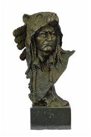 Native American Chief in Bear Headdress Bronze