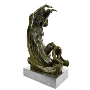 Special Patina Nude Female Resting on Moon Bronze