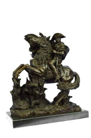 Massive 62 LBS Napoleon Riding Horse Bronze Sculpture