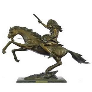 Indian on Horse Bronze Sculpture