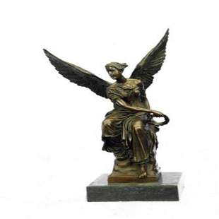 Beautiful Angel sits on Celestial Throne Bronze