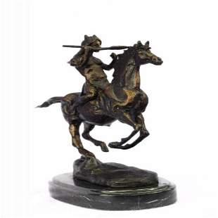 Indian Warrior Chief on Horse Bronze Sculpture