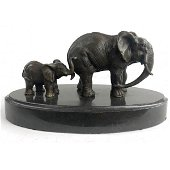 Mother and Child African Elephant Bronze Sculpture
