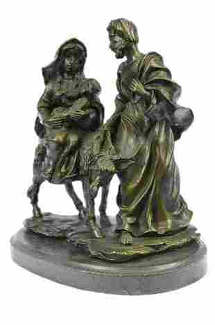 Flight into Egypt Biblical Event Holly Family Bronze