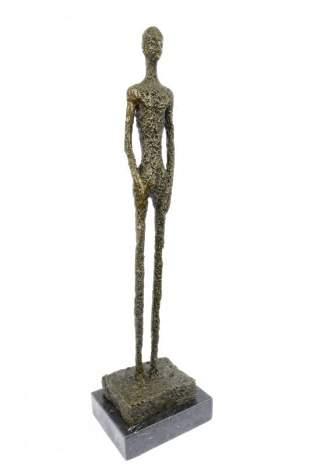 Standing Tall Man Stick Bronze Sculpture