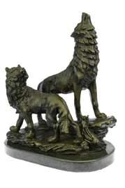 Howling Wolf Bronze Sculpture