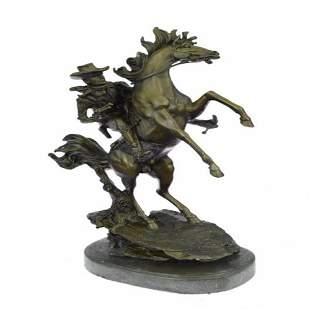 Western Cowboy with Bucking Horse Bronze Sculpture