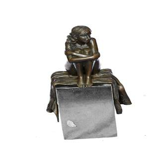 Nude Woman Sitting on a Carpet Daydreaming Bronze