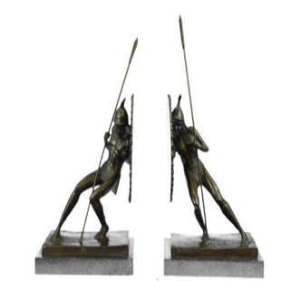Pair Two Japanese Warrior with Shield Bronze Sculpture