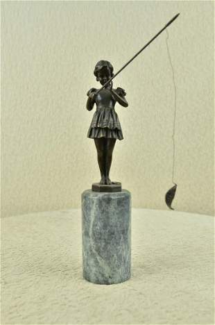 Young Girl Fishing in Lake Bronze Sculpture