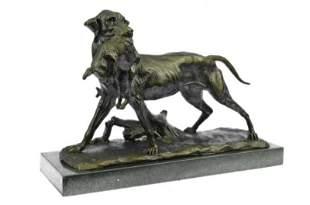 Dog Retriever Rabbit Bronze Statue